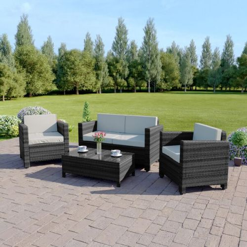 Rattan sofa set with coffee table mixed grey with light cushions roma