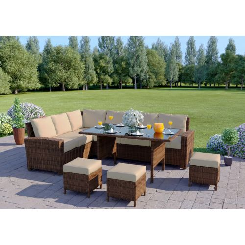 Rattan Corner Dining Table Set Brown