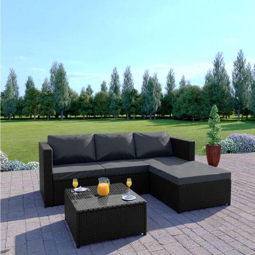 Rattan sofa set L Shape black with dark cushions