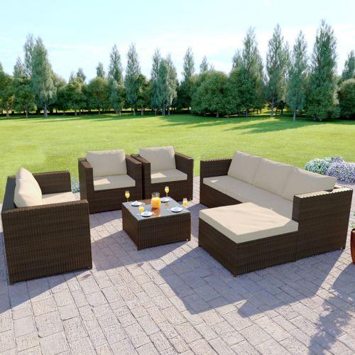 Brown Rattan Corner Sofa Set with Arm chairs coffee table