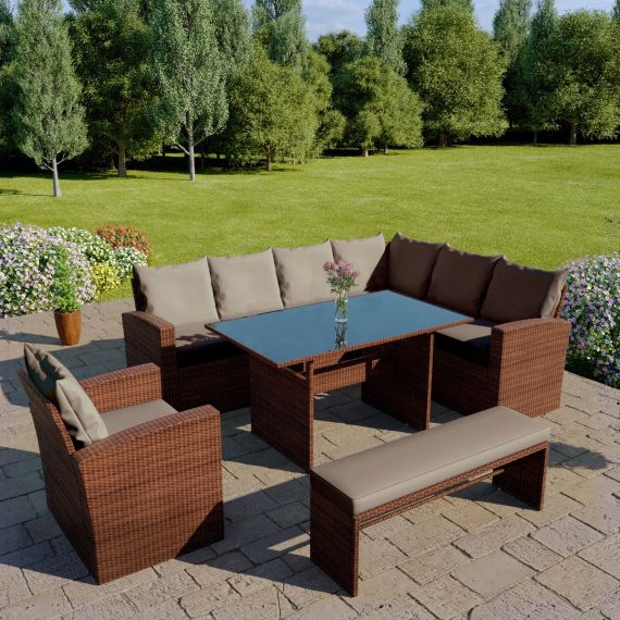The Aruba 9 seater corner dining set with arm chair and bench in brown with dark cushions
