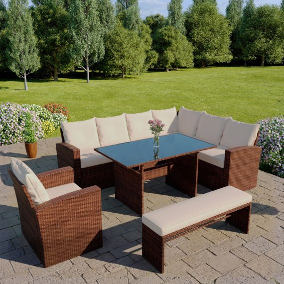 The Aruba 9 seater corner dining set with arm chair and bench in brown with light cushions