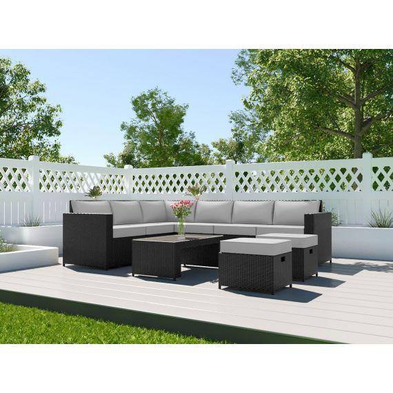 The Barcelona 8 Seater Rattan Corner Garden Sofa &  Coffee Table Set Black with Light Cushions
