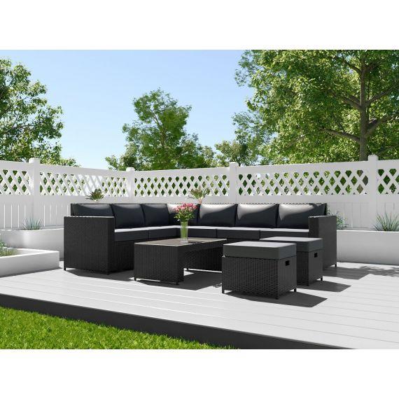 The Barcelona 8 Seater Rattan Corner Garden Sofa & Coffee Table Set in Black With Dark Cushions