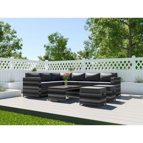Rattan Corner Sofa Set Garden Furniture Coffee Table