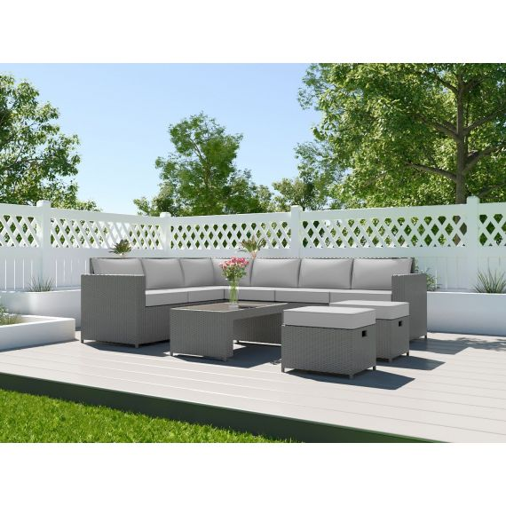 The Barcelona 8 Seater Rattan Corner Garden Sofa & Coffee Table Set Solid Grey with Light Cushions