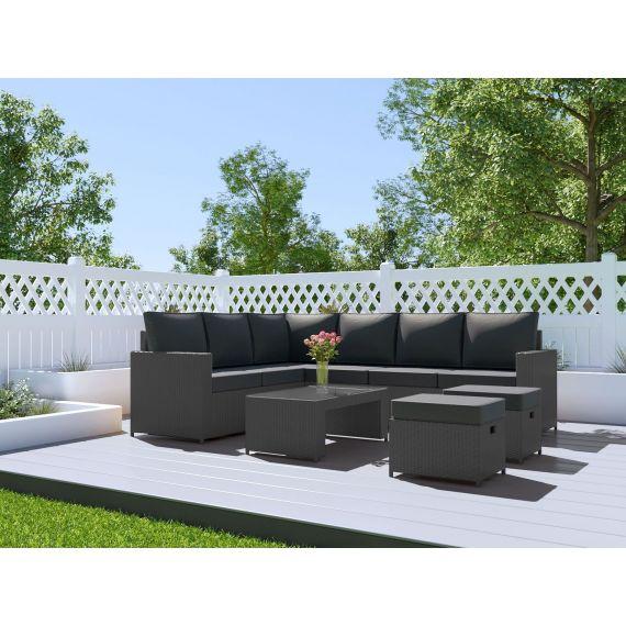 The Barcelona 8 Seater Rattan Corner Garden Sofa & Coffee Table Set Solid Grey with Dark Cushions