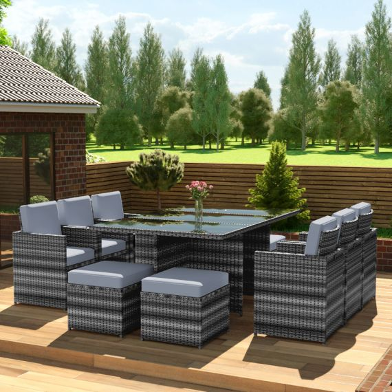 The Faro - 10 Seater Rattan Cube Set Mixed Grey with Light Cushions