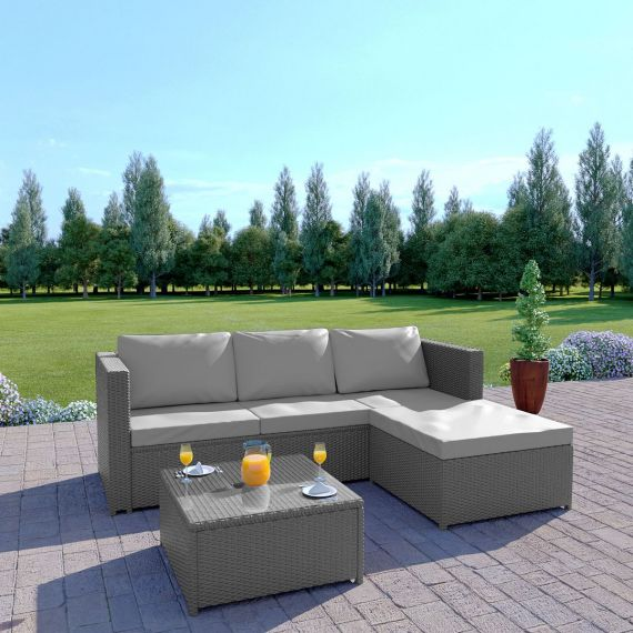 The Havana 3 Seater L Shape Rattan Sofa Set in Solid Grey with Light Cushions