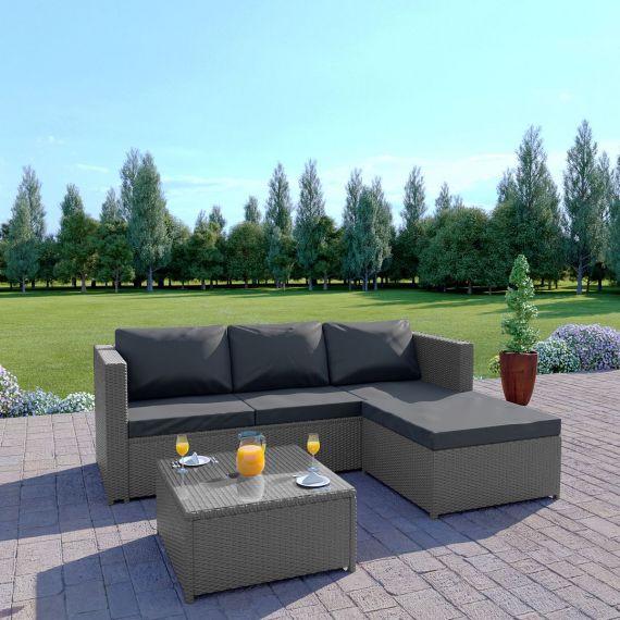 Rattan outdoor garden sofa set L Shape grey dark thick cushions the havana