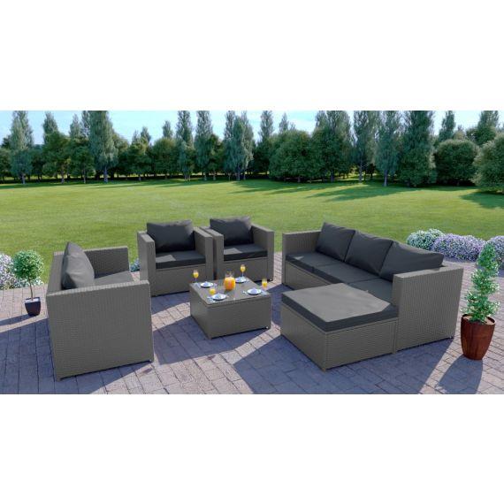 Rattan Outdoor Garden sofa Set L Shape Mixed Grey Thick Cushions The Havana