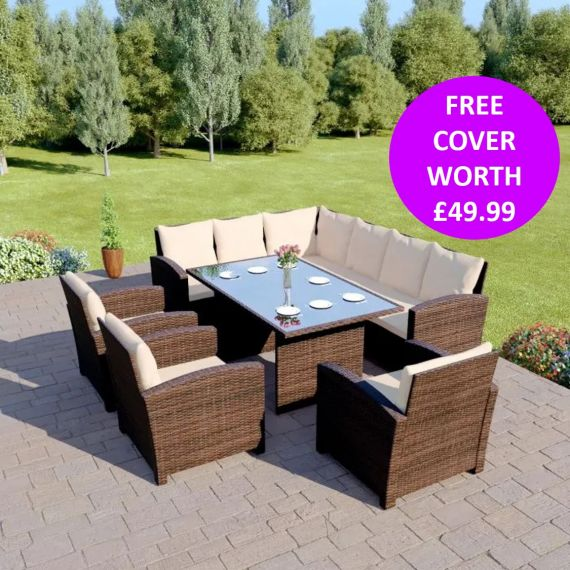 Bermuda 9 Seater Garden Rattan Dining Set Brown with Light Cushions INCLUDES FREE OUTDOOR COVER