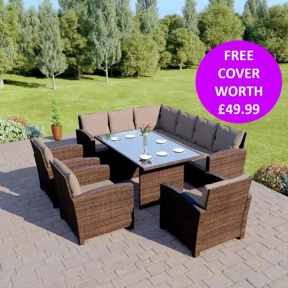 Bermuda 9 Seater Garden Rattan Dining Set Brown with Dark Cushions INCLUDES FREE OUTDOOR COVER