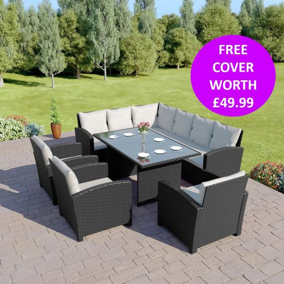 Bermuda 9 Seater Garden Rattan Dining Set Black with Light Cushions INCLUDES FREE OUTDOOR COVER