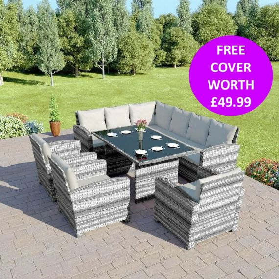Bermuda 9 Seater Garden Rattan Dining Set Mixed Grey with Light Cushions INCLUDES FREE OUTDOOR COVER