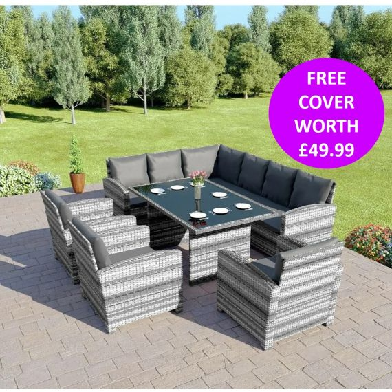 Bermuda 9 Seater Garden Rattan Dining Set Mixed Grey with Dark Cushions INCLUDES FREE OUTDOOR COVER