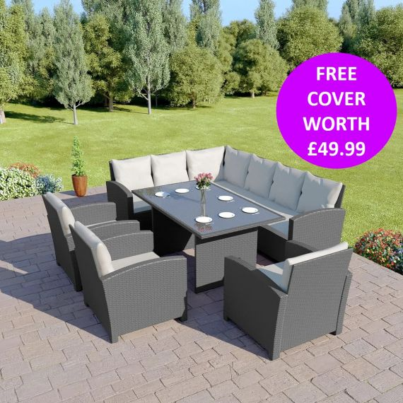 Bermuda 9 Seater Garden Rattan Dining Set Solid Dark Grey with Light Cushions INCLUDES FREE OUTDOOR COVER