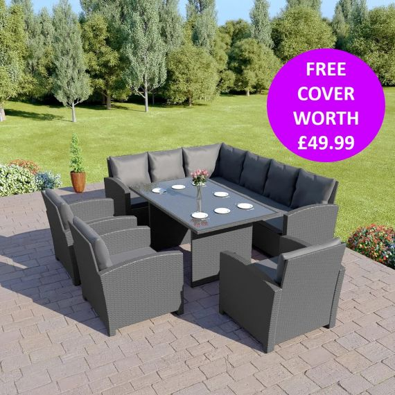 Bermuda 9 Seater Garden Rattan Dining Set Solid Grey with Dark Cushions INCLUDES FREE OUTDOOR COVER