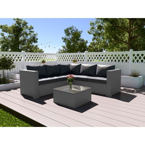 The Vienna 4 Seater Corner Rattan Garden Sofa Set - with coffee table - Solid Grey with Dark Cushions