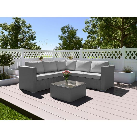 The Vienna 4 Seater Corner Rattan Garden Sofa Set - with coffee table Solid Grey with Light Cushions