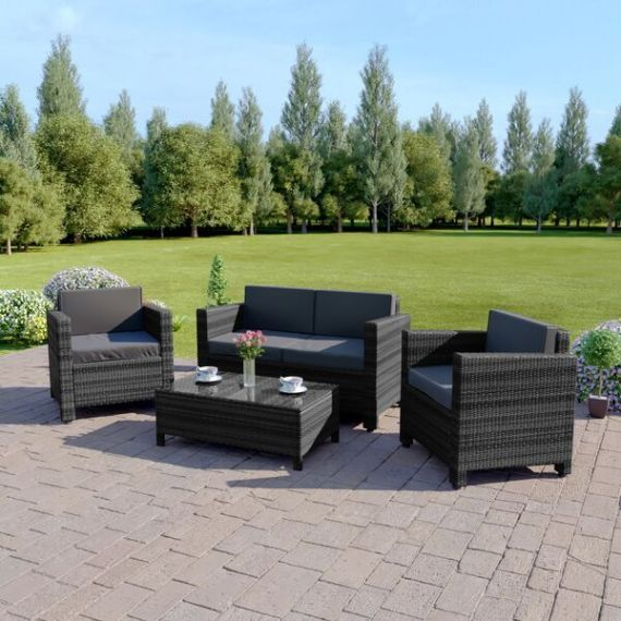 The Roma 4 Seater Rattan Sofa Set in Mixed Grey with Dark Cushions