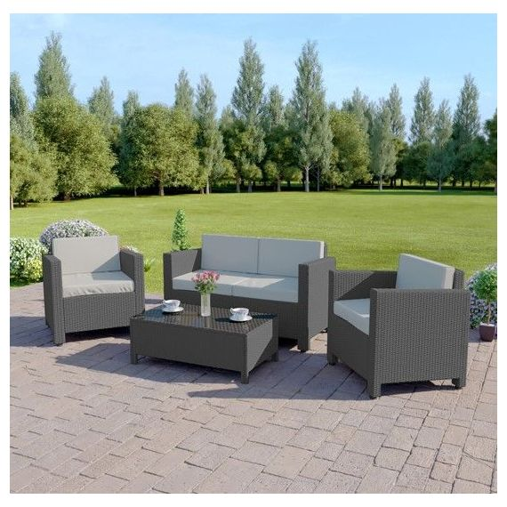 The Roma 4 Seater Rattan Sofa Set in Solid Grey with Light Cushions