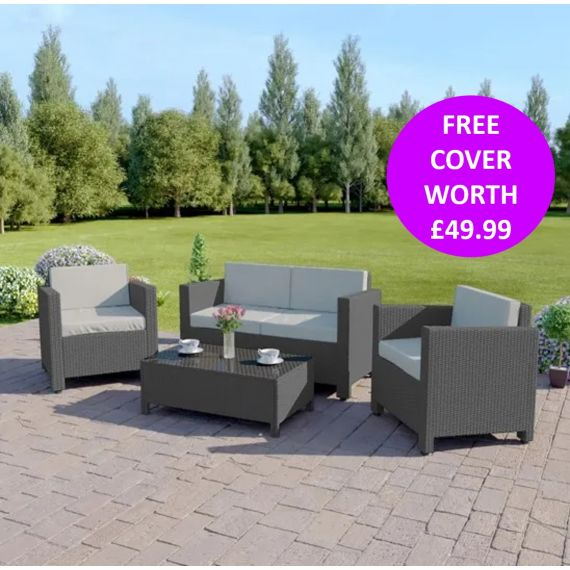 The Roma 4 Seater Rattan Sofa Set in Solid Grey with Light Cushions INCLUDES FREE OUTDOOR COVER