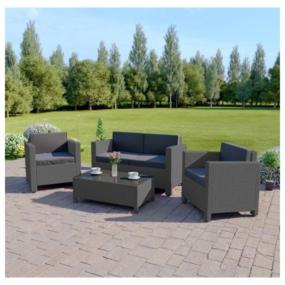 The Roma 4 Seater Rattan Sofa Set in Solid Grey with Dark Cushions