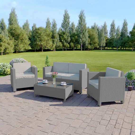 The Roma 4 Seater Rattan Sofa Set in Light Grey with Light Cushions