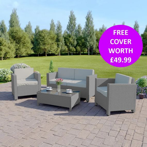 The Roma 4 Seater Rattan Sofa Set in Light Grey with Light Cushions INCLUDES FREE OUTDOOR COVER