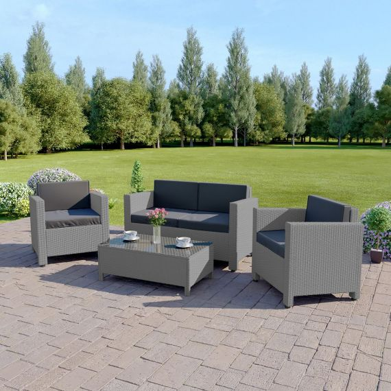 The Roma 4 Seater Rattan Sofa Set in Light Grey with Dark Cushions