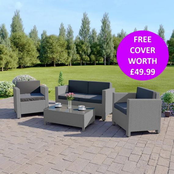 The Roma 4 Seater Rattan Sofa Set in Light Grey with Dark Cushions INCLUDES FREE OUTDOOR COVER