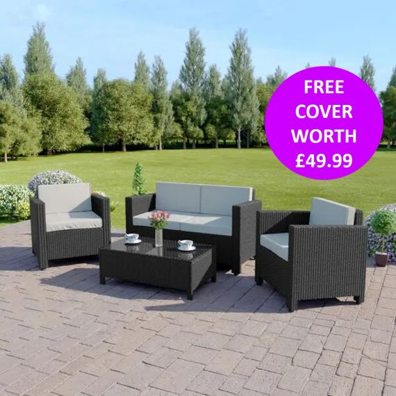 The Roma 4 Seater Rattan Sofa Set in Black with Light Cushions INCLUDES FREE OUTDOOR COVER