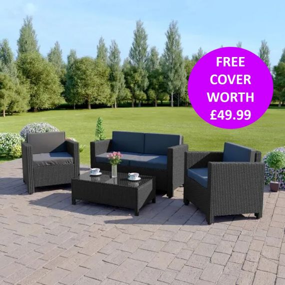The Roma 4 Seater Rattan Sofa Set in Black with Dark Cushions INCLUDES FREE OUTDOOR COVER
