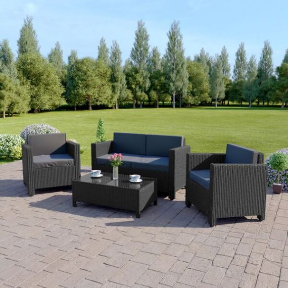 The Roma 4 Seater Rattan Sofa Set in Black with Dark Cushions