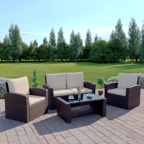 The Algarve 4 Seater Rattan Sofa Set in Brown with Light Cushions