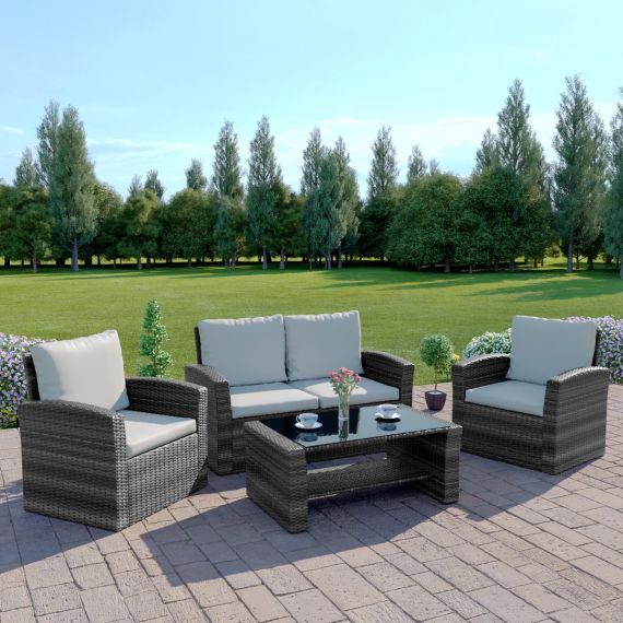 The Algarve 4 Seater Rattan Sofa Set in Mixed Grey with Light Cushions