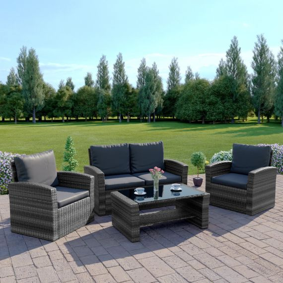 The Algarve 4 Seater Rattan Sofa Set in Mixed Grey with Dark Cushions