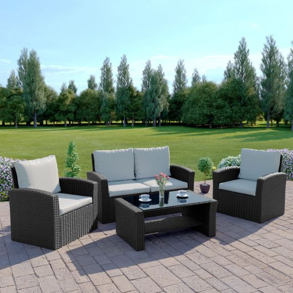 The Algarve 4 Seater Rattan Sofa Set in Black with Light Cushions