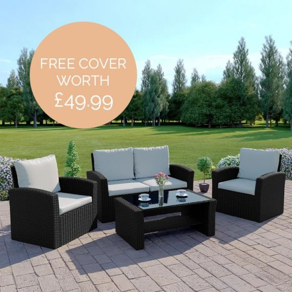 The Algarve 4 Seater Rattan Sofa Set in Black with Light Cushions INCLUDES FREE OUTDOOR COVER