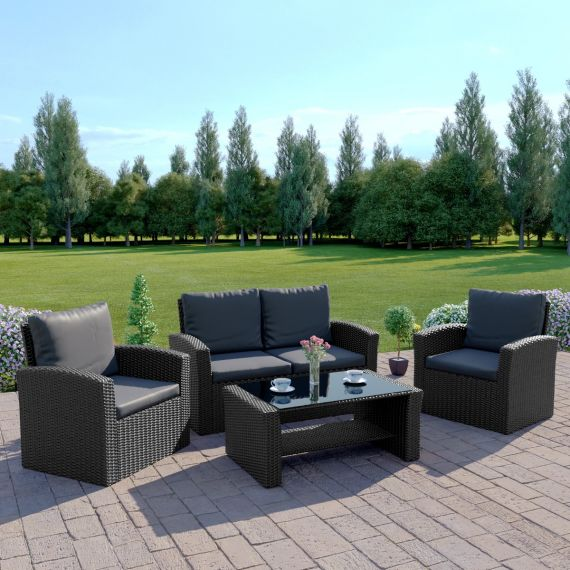 The Algarve 4 Seater Rattan Sofa Set in Black with Dark Cushions