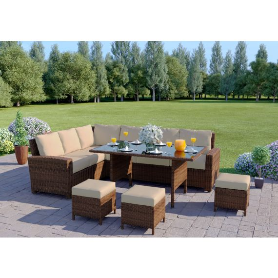 Rattan Outdoor Garden sofa Set L Shape Mixed Grey Thick Cushions The Havana