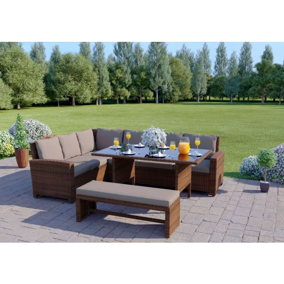 The Malibu 9 Seater Rattan Corner Garden Sofa & Dining Table Set with Bench in Brown With Dark Cushions