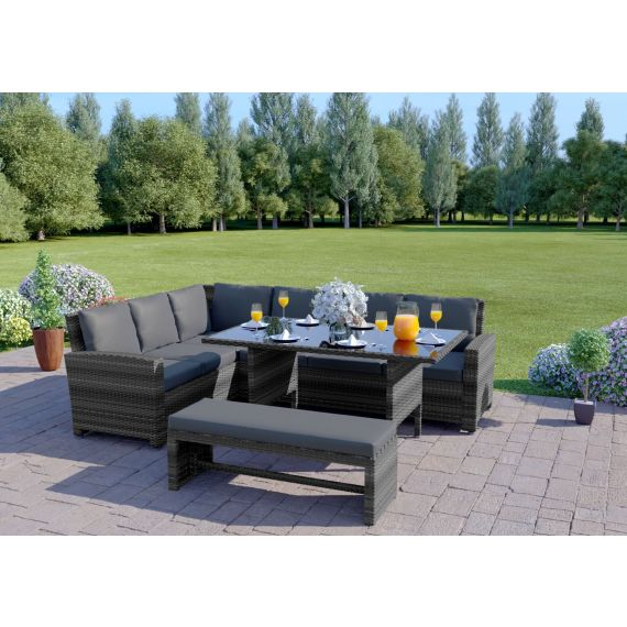 The Malibu 9 Seater Rattan Corner Garden Sofa & Dining Table Set with Bench in Mixed Grey With Dark Cushions