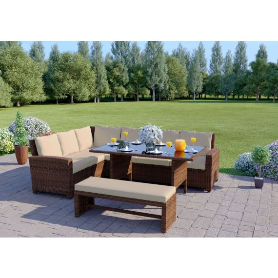 The Malibu 9 Seater Rattan Corner Garden Sofa & Dining Table Set with Bench in Brown With Light Cushions