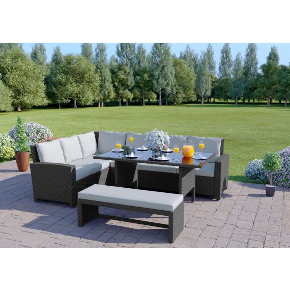 The Malibu 9 Seater Rattan Corner Garden Sofa & Dining Table Set with Bench in Grey With Light Cushions