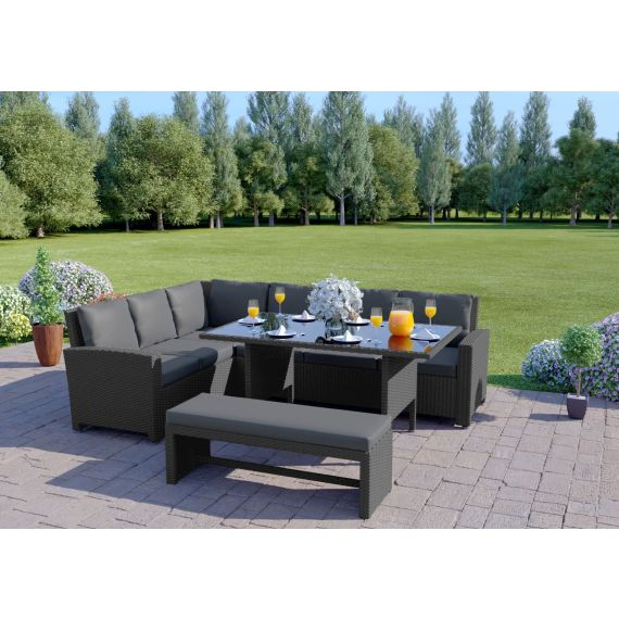 The Malibu 9 Seater Rattan Corner Garden Sofa & Dining Table Set with Bench in Grey With Dark Cushions