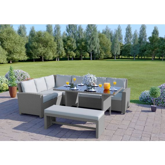 The Malibu 9 Seater Rattan Corner Garden Sofa & Dining Table Set with Bench in Solid Light Grey With Light Cushions