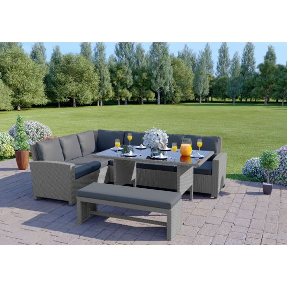 The Malibu 9 Seater Rattan Corner Garden Sofa & Dining Table Set with Bench in Solid Light Grey With Dark Cushions