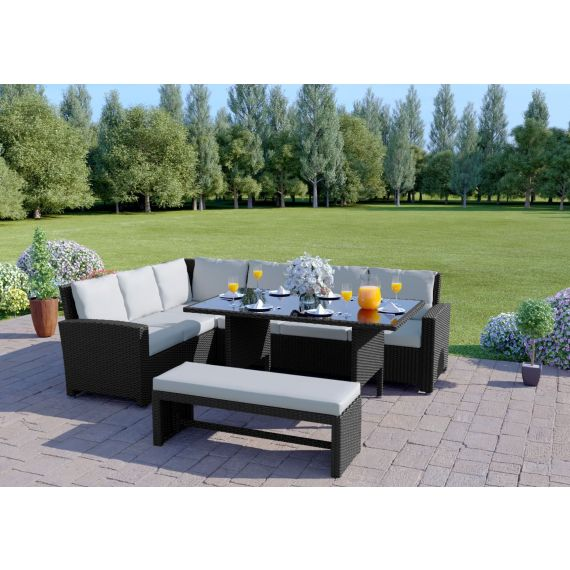 The Malibu 9 Seater Rattan Corner Garden Sofa & Dining Table Set with Bench in Black With Light Cushions